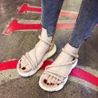 Rhinestone Strap Thick Platform Sandals