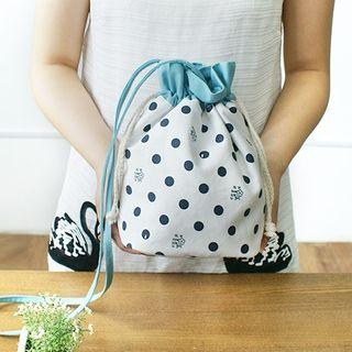 Dotted Print Drawstring Pouch