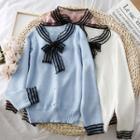 Lace-trim Ribbon Knit Top