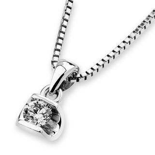 18k White Gold Oval Solitaire Diamond Pendant (1/10 Cttw) (free 925 Silver Box Chain)