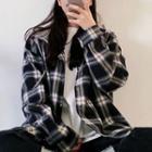 Boxy Plaid Hooded Shirt Jacket