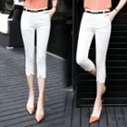 Front-slit Cropped Skinny Pants