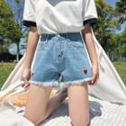 Heart Embroidered Denim Shorts Blue - M