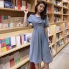 Elbow-sleeve Crinkled A-line Dress