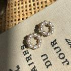 Faux-pearl Heart Earrings Gold - One Size