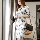 Short-sleeve Floral-patterned Zip-back Sheath Dress
