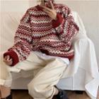 Wave Jacquard Round-neck Sweater