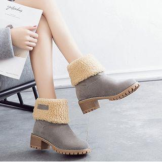 Fleece-lined Chunky Heel Short Boots
