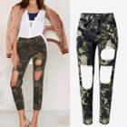 Ripped Camouflage Cropped Pants