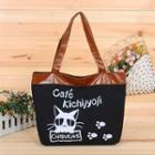 Paneled Printed Canvas Tote