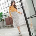 Ornate Print Chiffon Long Skirt