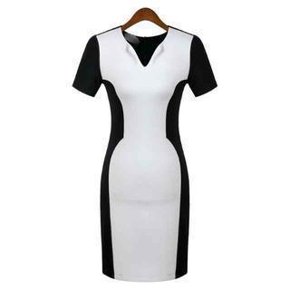 Short-sleeve Color-block Sheath Dress
