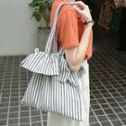 Striped Canvas Shoulder Bag Stripe - One Size