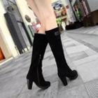 Genuine Suede Chunky Heel Long Boots