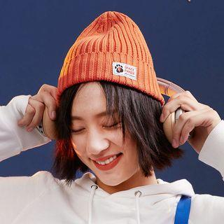 Applique Ribbed Beanie Tangerine - One Size