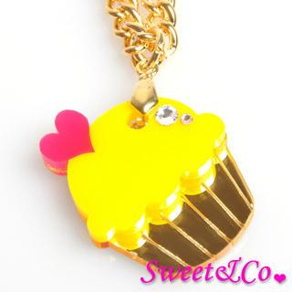 Mini Yellow Cupcake Crystal Gold Necklace