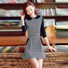 Gingham Panel Collared Dress