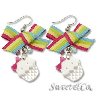 Rainbow Ribbon Swarovski Miss Cupcake Earrings Silver - One Size