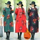 Fleece-lined Floral Long-sleeve Midi A-line Dress