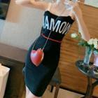 Sleeveless Letter Knit Midi Dress