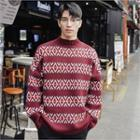 Patterned Round-neck Sweater