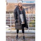 Tall Size Hooded Long Puffer Coat Black - Xl