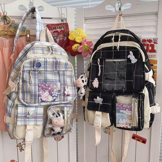 Pvc Pocket Plaid Backpack / Accessory / Set
