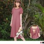 Cutout Lace Up Back Short Sleeve Dress