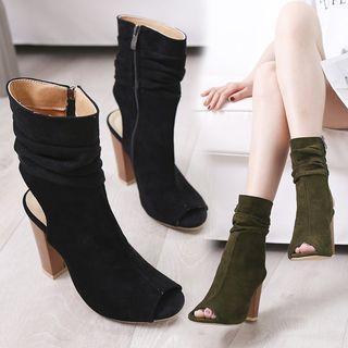 Block-heel Peep-toe Short Boots