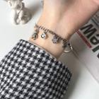 925 Sterling Silver Smiley Face Bracelet Sl0041 - Silver - One Size