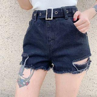 Distressed Frayed Trim Denim Hot Pants With Belt