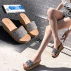 Sequined Slide Platform Wedge Sandals