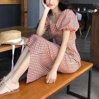 Plaid Balloon-sleeve Dress