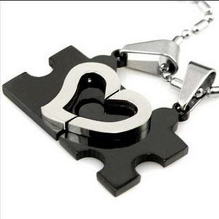 Set Of 2: Heart Puzzle Pendant