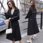 Contrast Trim Double-breasted Midi Trench Coat