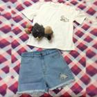 Short-sleeve Embroidered T-shirt / Denim Shorts