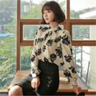 Floral Print Shirred-front Blouse