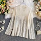 Mock-neck Long-sleeve Sheer Lace Top