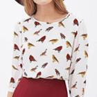 Bird Print Elbow-sleeve Chiffon Blouse