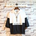 Short-sleeve Color-block Hooded Top