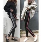 Faux-leather Striped Trim Skinny Pants