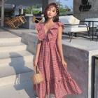Check Ruffle V-neck Sleeveless Dress