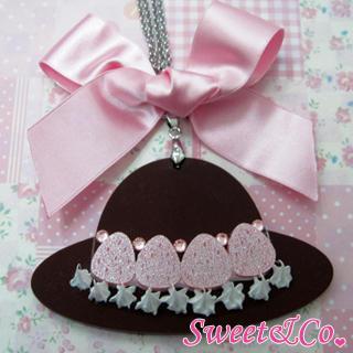 Sweet Xl Pink Ribbon Swarovski Crystal Strawberry Choco Hat Necklace Silver - One Size