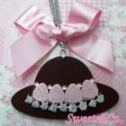 Sweet Xl Pink Ribbon Swarovski Crystal Strawberry Choco Hat Necklace Silver - One Size