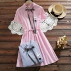 Rabbit Embroidered Striped Short Sleeve Dress