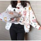 Long Sleeve Print Oversized Pullover
