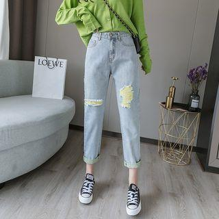 High-waist Ripped Washed Jeans