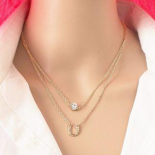 Faux Crystal Pendant Layered Necklace Gold - One Size
