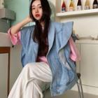 Ruffle Denim Vest Blue - One Size