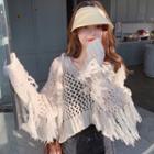 Crochet Knit Fringed Trim Long-sleeve Sweater